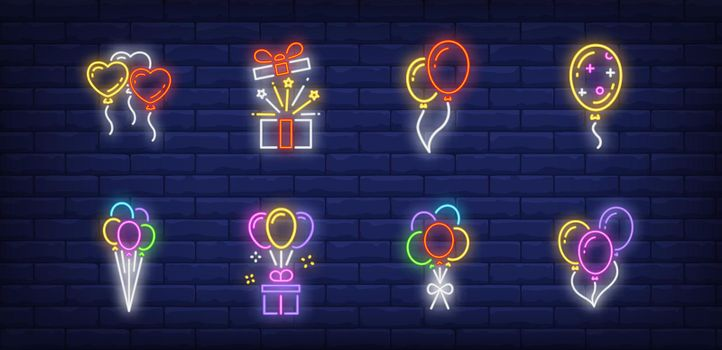 Balloons neon sign collection