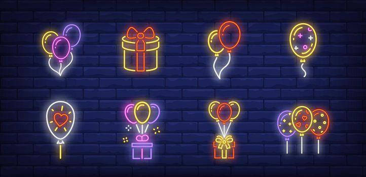 Balloons neon sign set