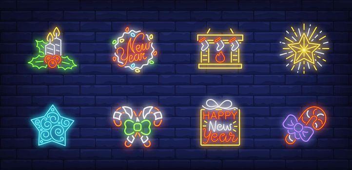 Christmas Eve neon sign set