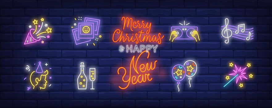 Christmas party in neon style set