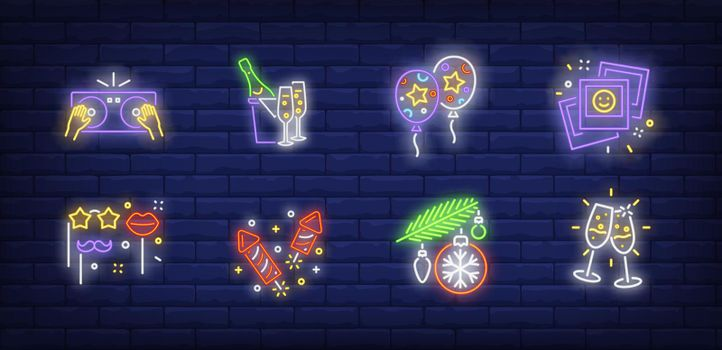 Christmas party neon sign set