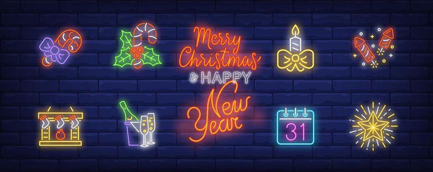 December holidays neon sign set