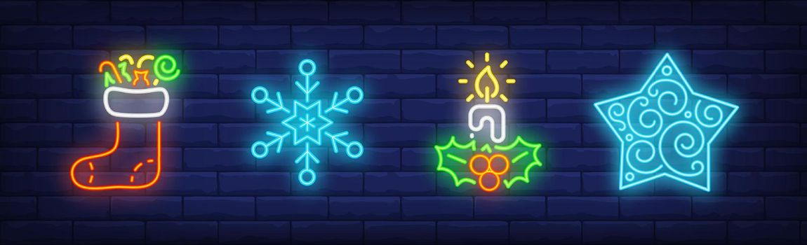 Merry Xmas collection in neon style