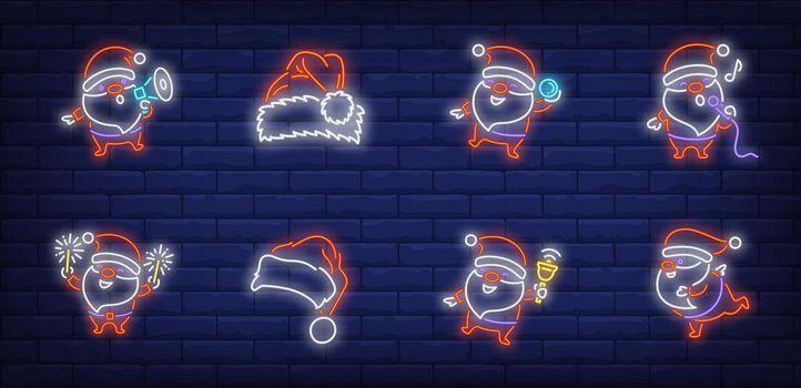 Santa Claus celebrating Christmas neon sign set