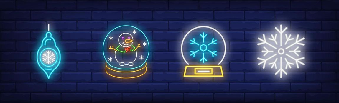Winter symbols neon sign set