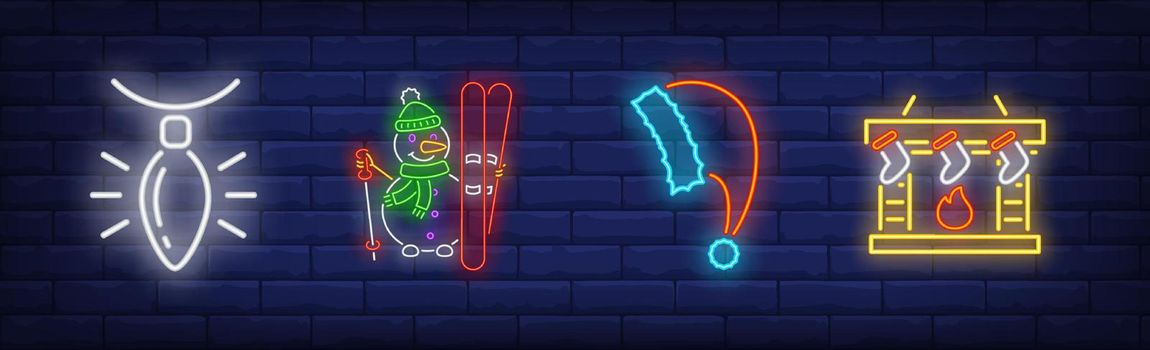 Xmas decoration in neon style set