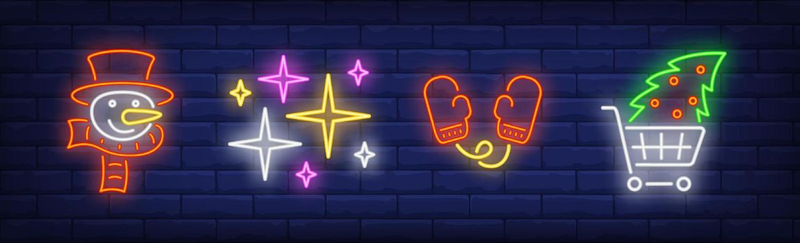Xmas symbol in neon style collection