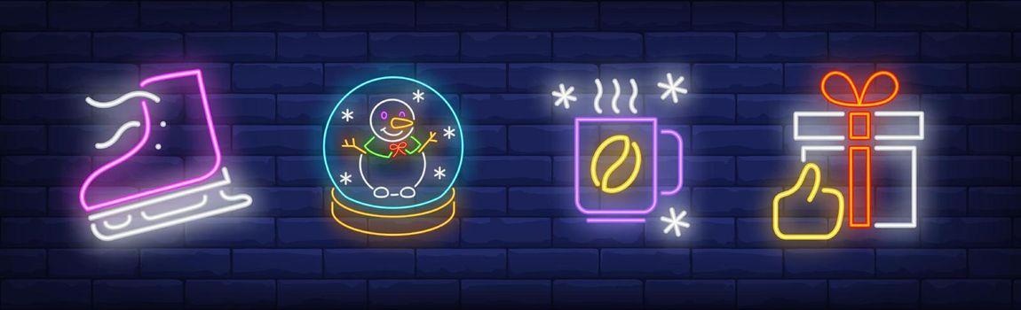 Xmas symbol in neon style set