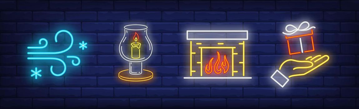 Xmas symbol neon sign set