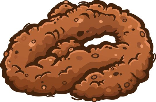 Coiled Up Poop Turd Cartoon Illustration