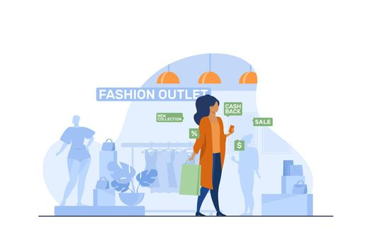 Female customer visiting in fashion outlet