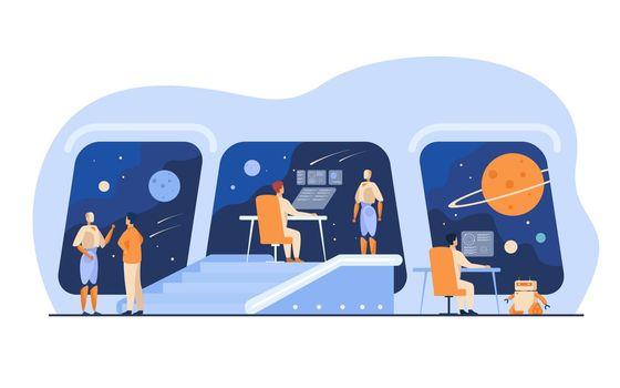 Futuristic space station interior