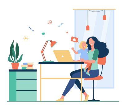 Happy mom combining freelance work and motherhood