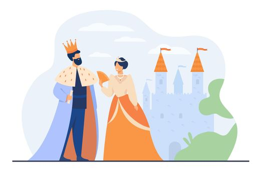 King and queen standing in front of castle
