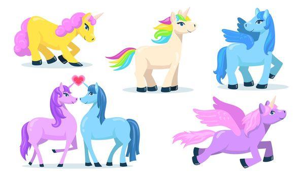 Little cute Pegasus and unicorn flat set for web design
