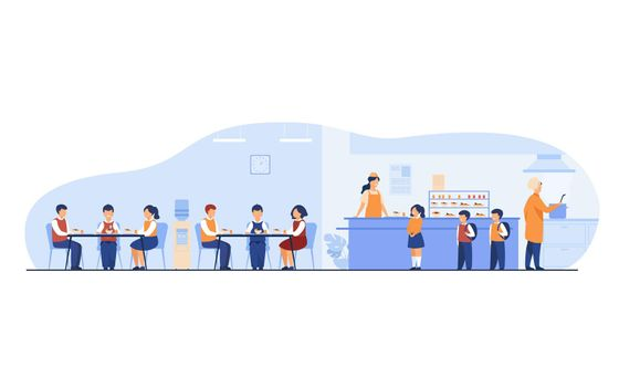 Lunch in school cafeteria concept