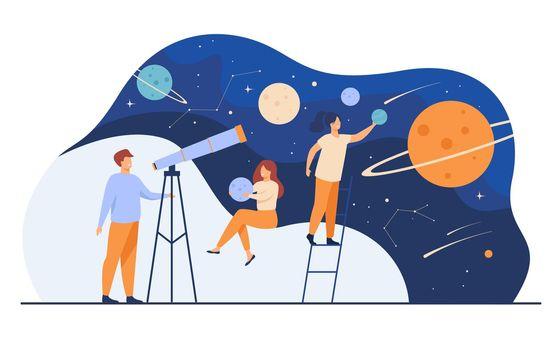 Man studying galaxy through telescope