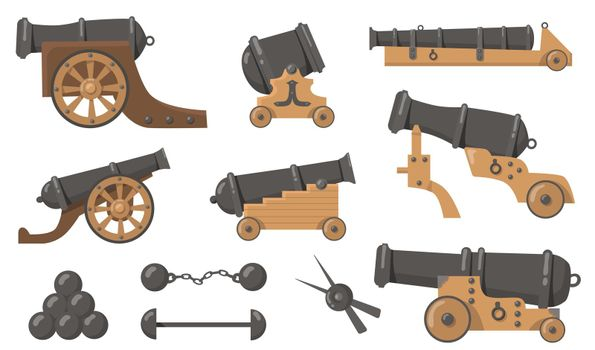 Medieval cannons with cannonballs flat illustration set