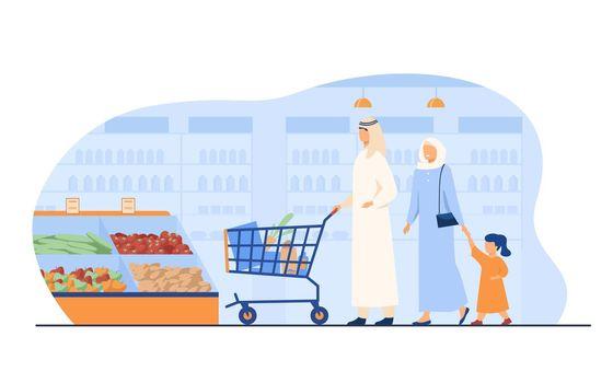 Muslim family buying food in supermarket