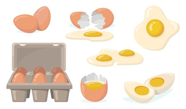 Raw, broken, boiled and fried eggs flat item set