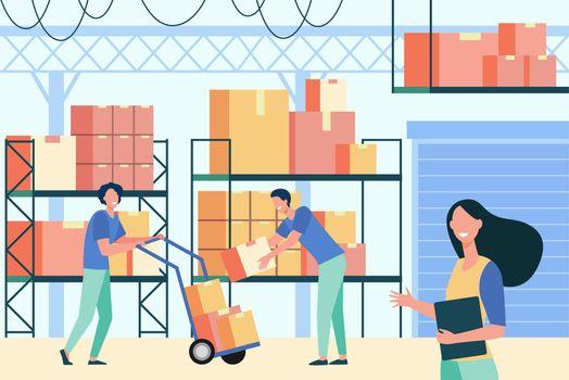 Staff working in logistic storage