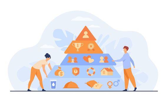 Tiny people near Maslow pyramid