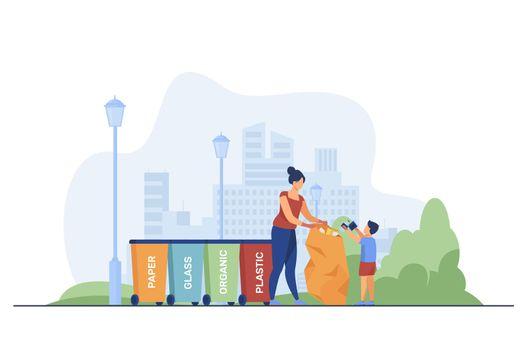 Woman and kid sorting garbage
