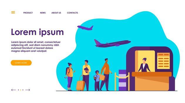 Airport queue vector illustration