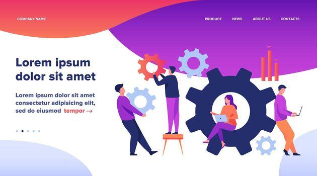 Business team working on cogwheel mechanism together