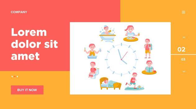 Child daily routine clocks flat vector illustration