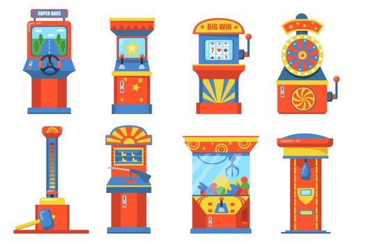 Attraction park devices with slot flat illustration set