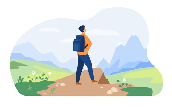Active tourist hiking in mountain