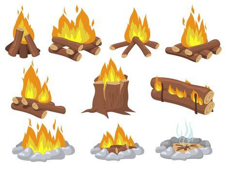 Bright wood campfire and bonfire flat item set
