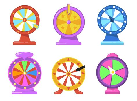 Colorful fortune wheel flat item set