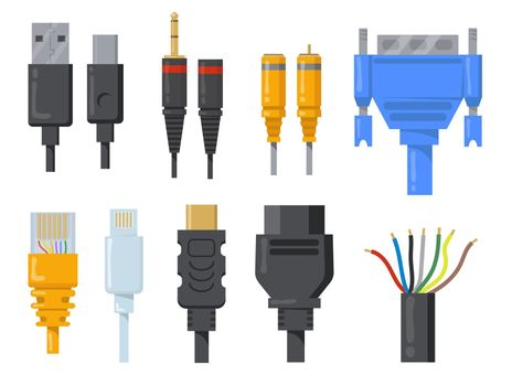 Computer cables, wires and cords flat item set