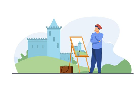 Creative artist painting castle