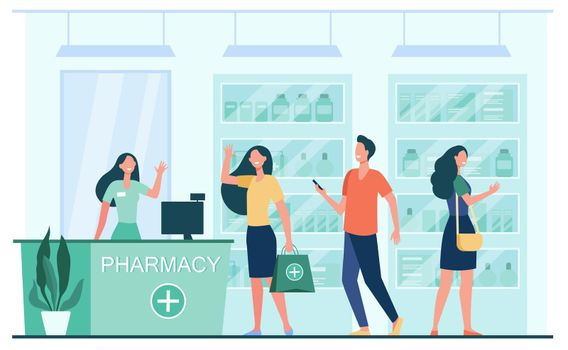 Customers and pharmacist in pharmacy store