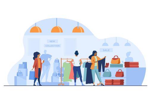 Customers in fashion shop