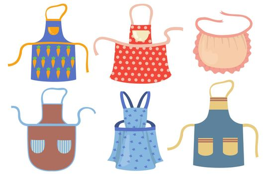 Cute kitchen aprons with patterns flat item set