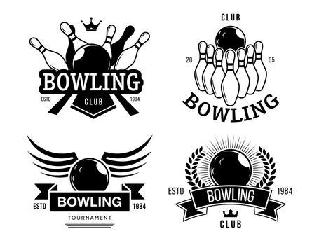 Bowling club labels set