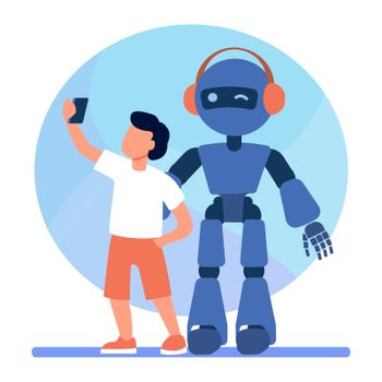 Boy taking selfie with humanoid