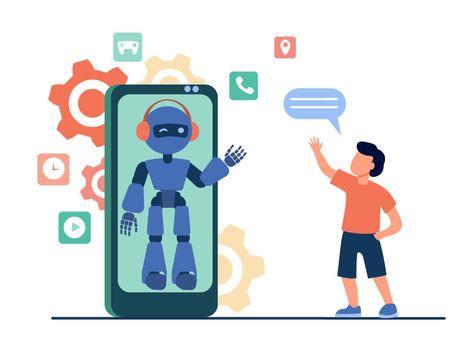 Boy waving hello at humanoid on smartphone screen