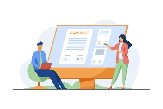Businesspeople signing contract online