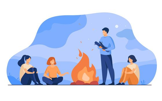 Campfire, camping, story telling concept
