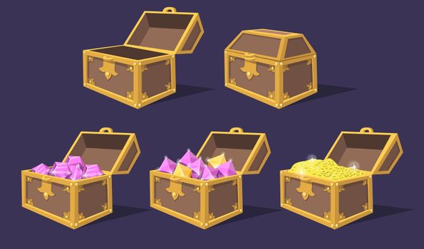 Closed and open colorful treasure chests