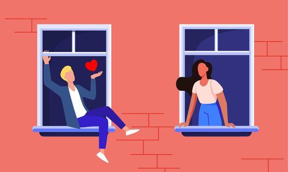 Couple dating through windows