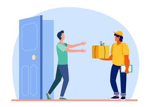 Courier delivering order to customer door