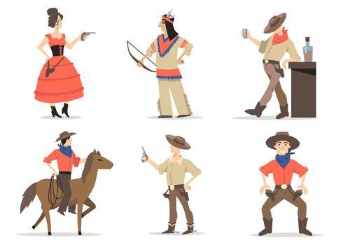Cowboy stories characters set