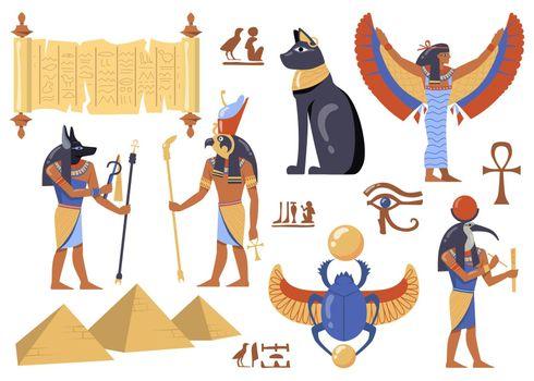 Egyptian mythology characters set