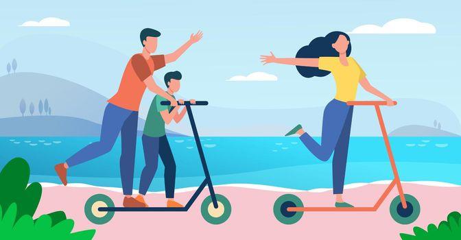Family enjoying activities at seaside